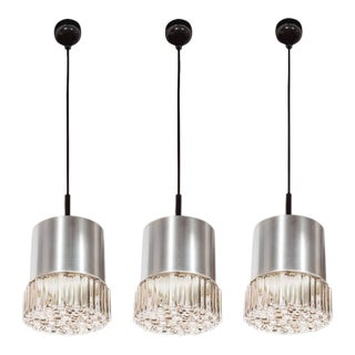 Mid-Century Set of Three Smoked Glass Bubble Pendants with Brushed Aluminum