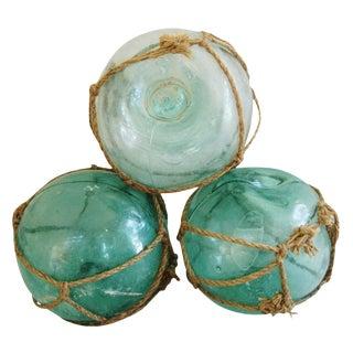 Jumbo Hand-Blown Glass Fishing Floats - Set of 3