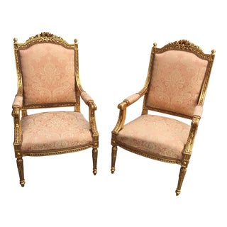 Gilt Peach Upholstered Acanthus Chairs - a Pair