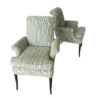 Mid-Century Italian Green Arm Chairs - A Pair
