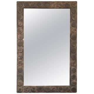 Large Distressed Grey Circle Motif Holly Hunt Mirror for Formations