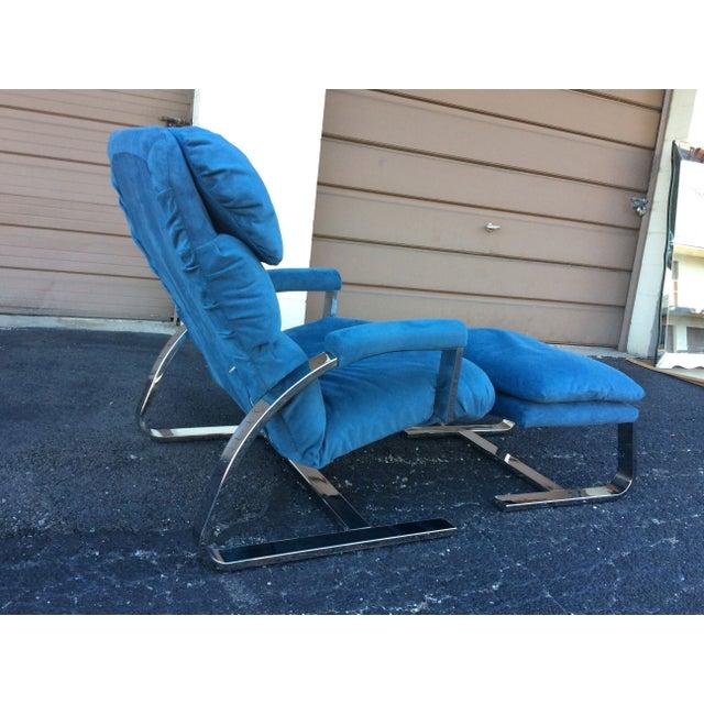 Milo Baughman Chrome Lounge Chair & Ottoman - Image 4 of 7