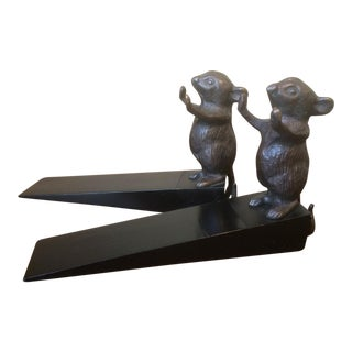 Door Stoppers With Bronze Mice - A Pair