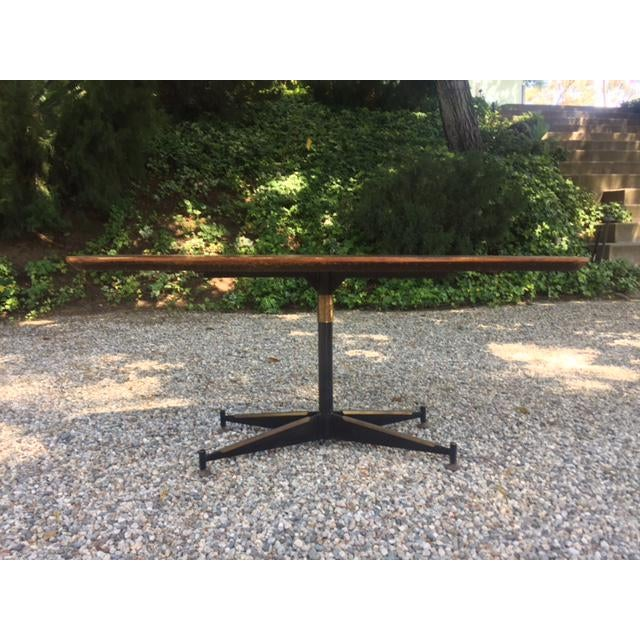 Vintage Mid-Century Modern Steel Based Walnut Coffee Table - Image 4 of 9