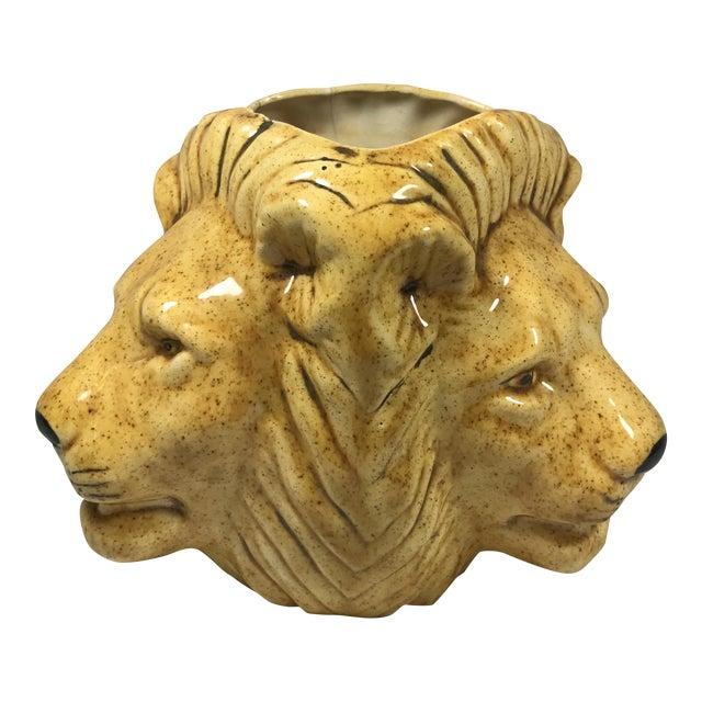 Mid-Century Lion Head Planter or Vase - Image 1 of 11