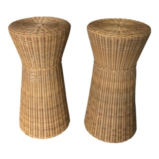 Pair of Modern Wicker End Tables