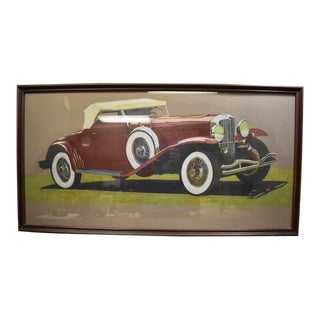 Vintage 1940's-1950's Classic Car Painting in Wood Frame