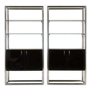 A Pair of Chrome and Jet Black Lacquered Etagere 1950s