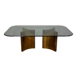 "Mastercraft ""Trilobi"" Brass and Glass Dining Table"