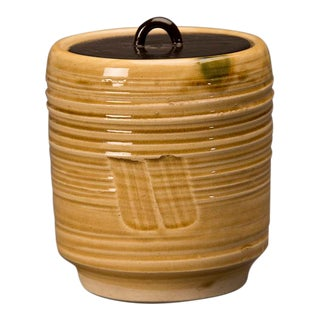 Vintage Japanese Hand Thrown Earthenware Container circa 1920