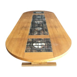 Vintage Gangso Mobler Dining Table With Tile Inlay