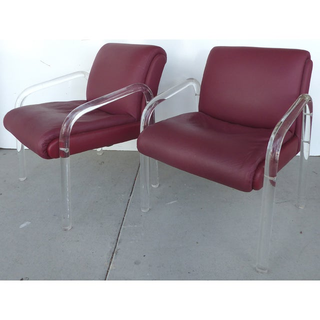 Image of Charles Hollis Jones Lucite Chairs - a Pair