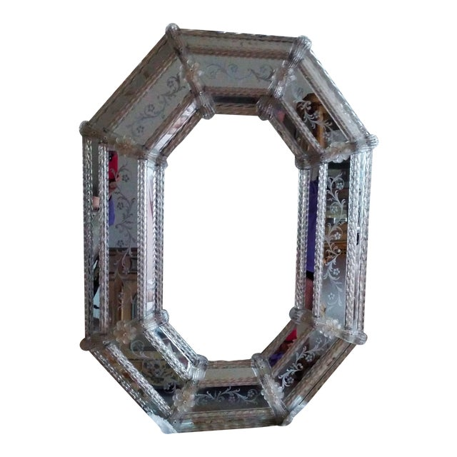 Large Vintage Venetian Etched Octagonal Wall Mirror - Image 1 of 6