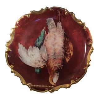 Coronet Limoges France Hand Painted Game Bird Plate Charger Signed A. Bronssillon