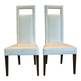 Christopher Kennedy Custom White Leather Dining Chairs - a Pair