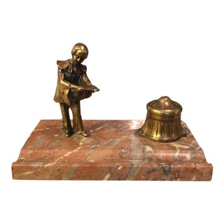 Antique Marble & Brass Inkwell