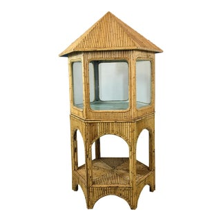 1960s Pagoda Shaped Bamboo Display Cabinet
