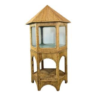 1960s Pagoda Shaped Bamboo Display Cabinet