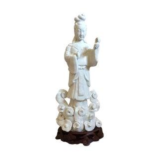White Ceramic Chinese Goddess on Rosewood Stand