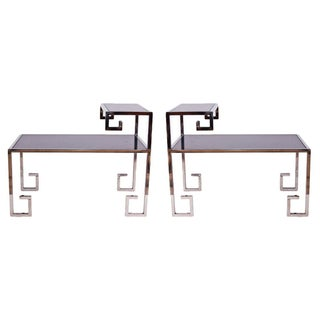 Greek Key Side Tables - A Pair