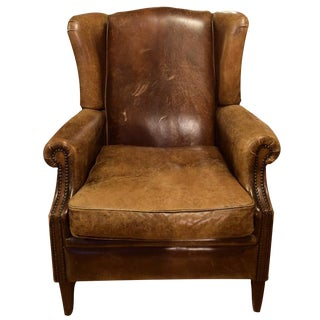 Leather Wingback Chair from Italy