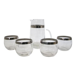 Dorothy Thorpe Silver Rim Cocktail Glasses & Pitcher - 5