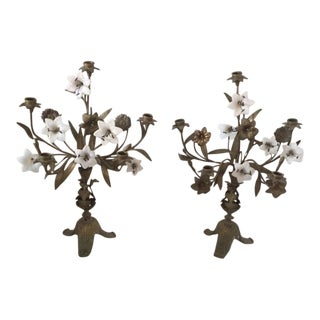 Antique Doré Bronze French Candelabras - Pair