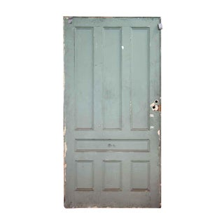 Light Green Seven Panel Oak Pocket Door