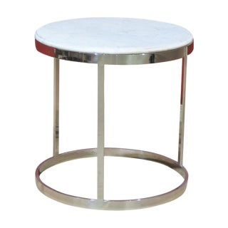Milo Baughman Style Chrome & Marble Side Table