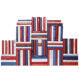 Modern Red, White & Blue Book Wall - Set of 100
