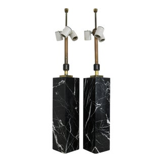 T.H. Robsjohn-Gibbings for Hansen Black Marble Column Lamps - A Pair