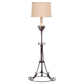 Antique French Forged Iron Candle Stand Floor Lamp circa 1900