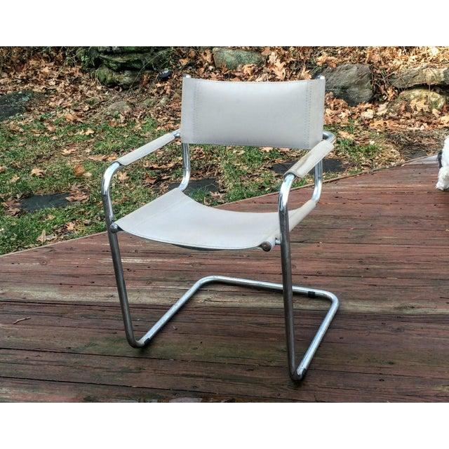 Vintage Mart Stam Breuer Style Tubular Chrome & Gray Leather Chair - Image 5 of 11