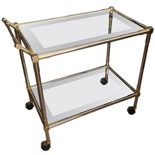 Mid-Century Modern Brass Glass & Mirrored Bar Cart