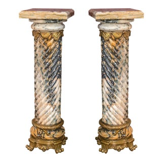 Palatial Twisted Marble Pedestals - A Pair