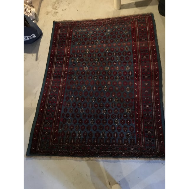 """Antique Blue/Red Persian Tribal Rug - 4'8"""" X 6'5"""" - Image 3 of 9"""