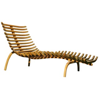 Sculptural Teak & Steel Chaise Lounge