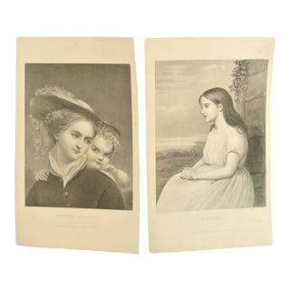 Antique 'Something of a Flirt' & 'Claribel' Engravings - Pair