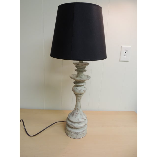 Vintage Wooden Painted Table Lamp & Shade - Image 2 of 5