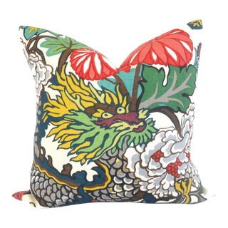 "20"" x 20"" Schumacher Alabaster Chiang Mai Dragon Pillow Cover"