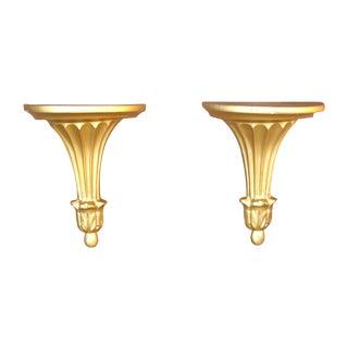 Gilt Neoclassical Shelf Sconces - Pair