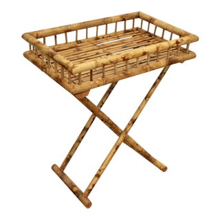 Burnt Bamboo Folding Tray Table / Bar Cart