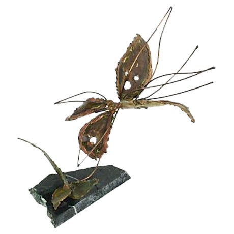 Copper Kinetic Butterfly Sculpture - Image 1 of 6