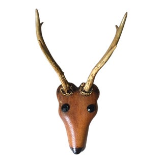 Vintage Folk Art Hand Carved Wooden Deer Head
