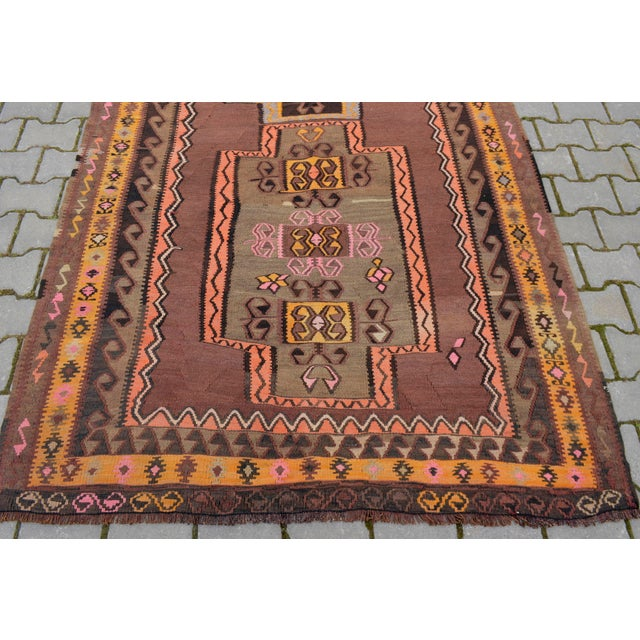 Turkish Hand Woven Kilim Rug - 5′1″ X 12′6″ - Image 8 of 10