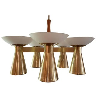 Striking Conical Pierced Brass and Glass Danish Chandelier
