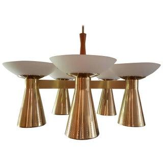 Striking Conical Pierced Brass and Glass Danish Chandelier