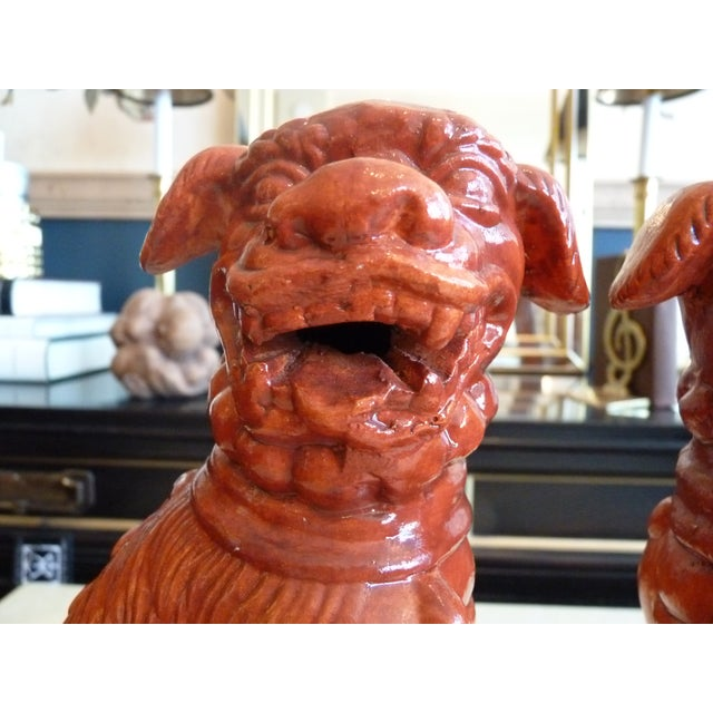 Orange Glaze Foo Dogs - A Pair - Image 3 of 7