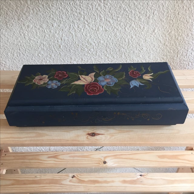 Hand Painted Blue Floral Box - Image 2 of 5
