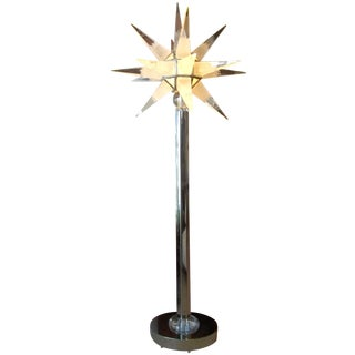 Standing Star Lucite and Steel Lamp